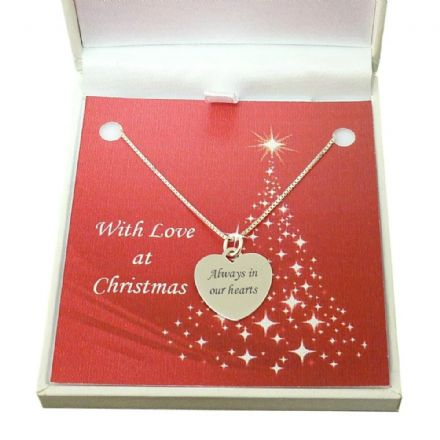 Engraved Silver Heart Necklace, Christmas Memorial Gift